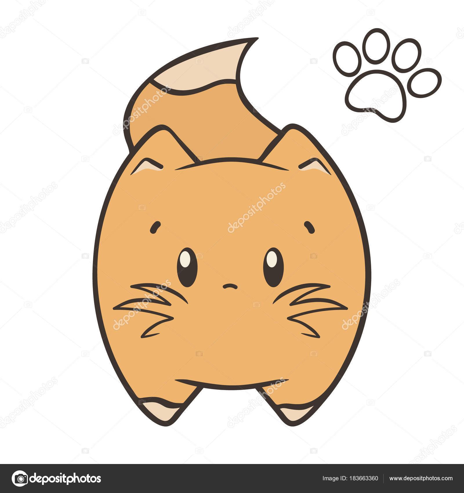 Cat Logo Kitty Minimal Flat Style Cute Cartoon Vector Toy Stock Vector C Anna 1161 183663360