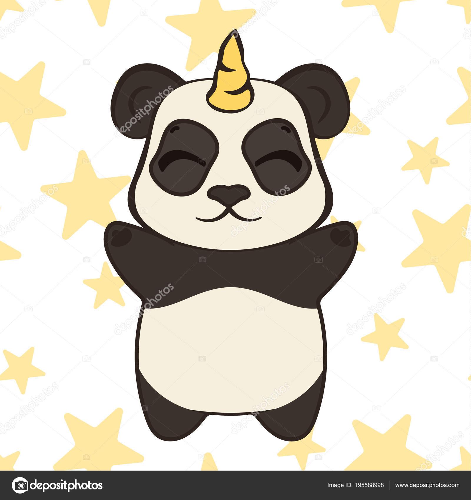 613538803afc58 Cute Panda Bear Character Unicorn Horn Isolated Panda Unicorn Cartoon–  stock illustration