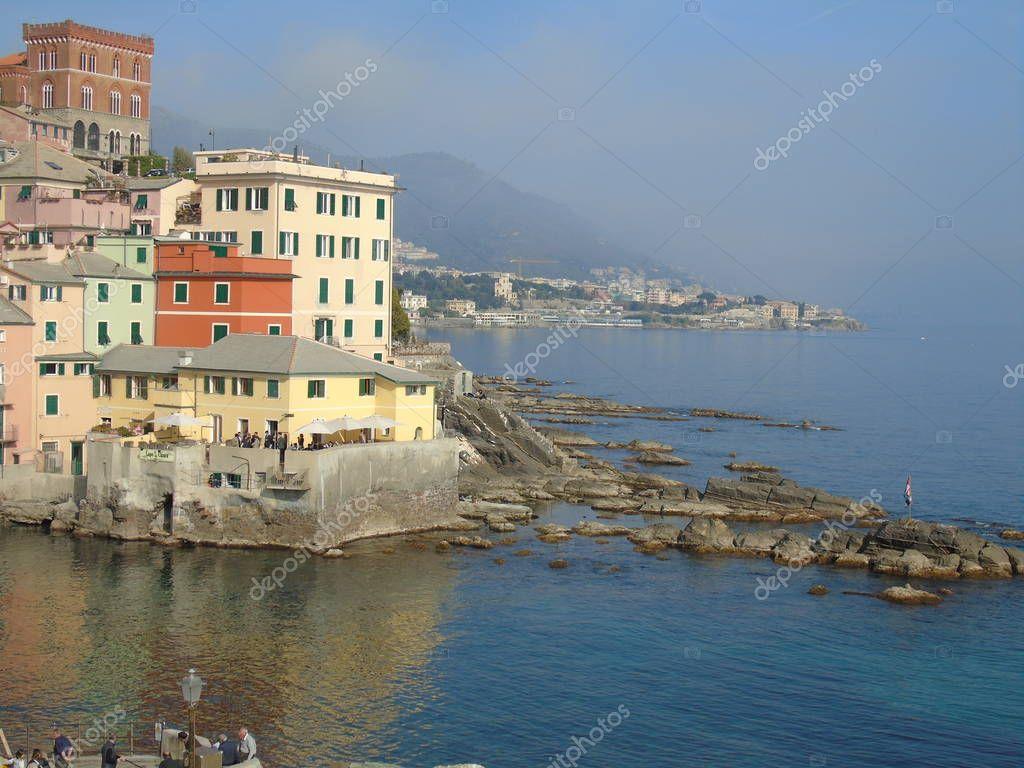 Beautiful caption of the seaside in Genova in winter days