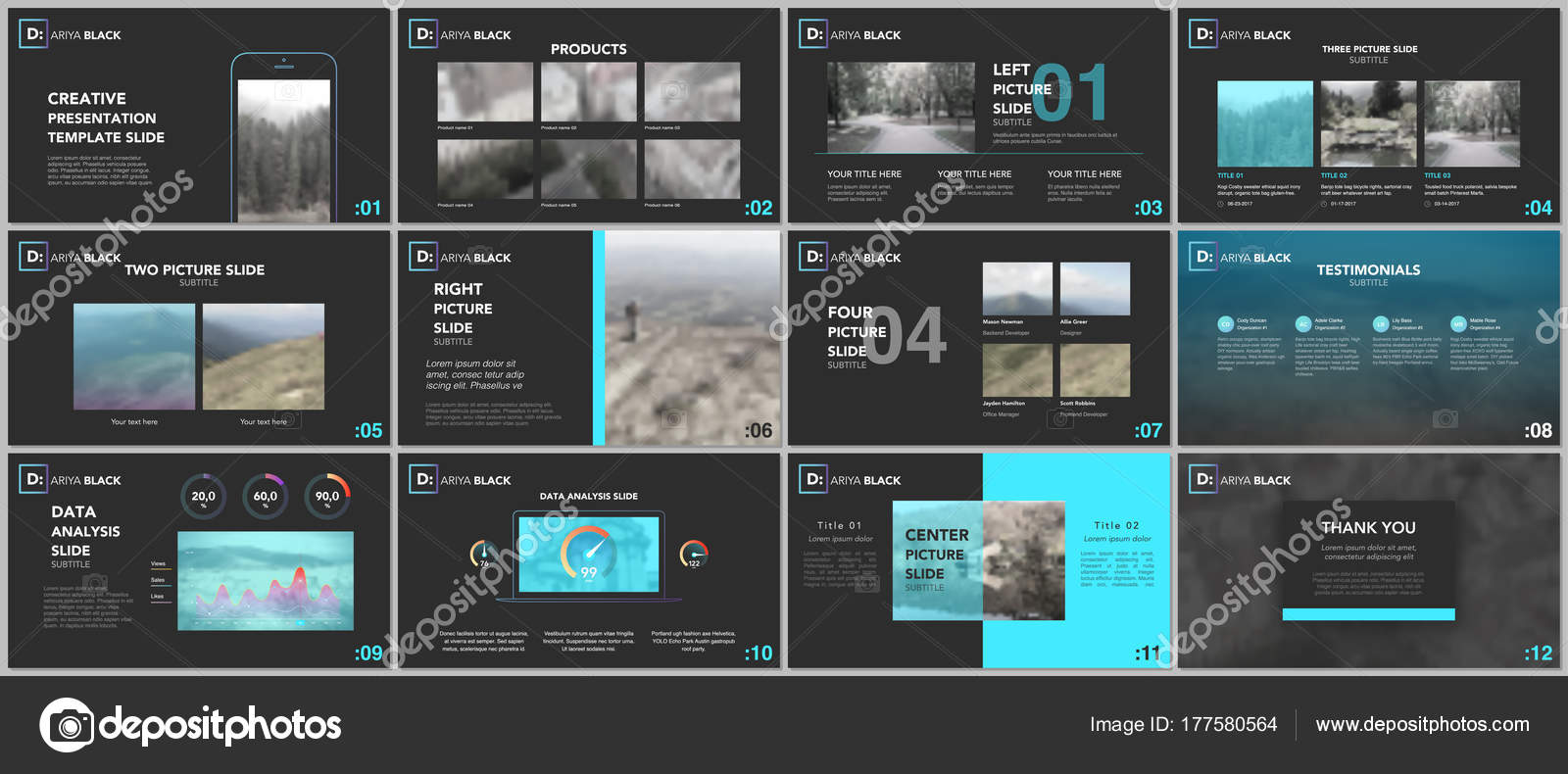 Clean and minimal presentation templates. Blue elements on a black ...