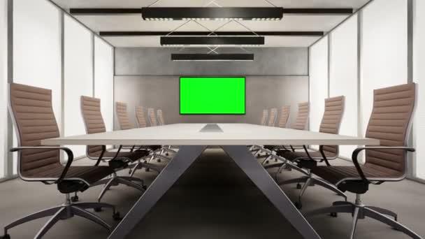 Moderní konferenční místnost s Chroma klíč Tv na zeď