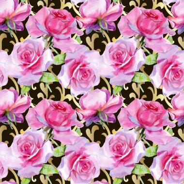 Watercolor pink rose Seamless pattern Spring print