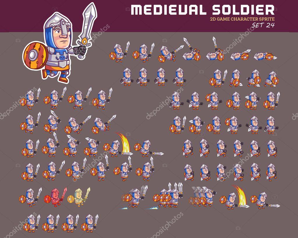 Vector Cartoon Ilustração Soldado Medieval Game Sprite