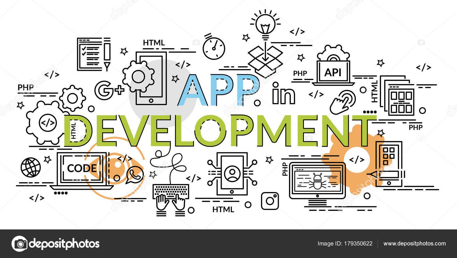 flat colorful design concept app development infographic idea making