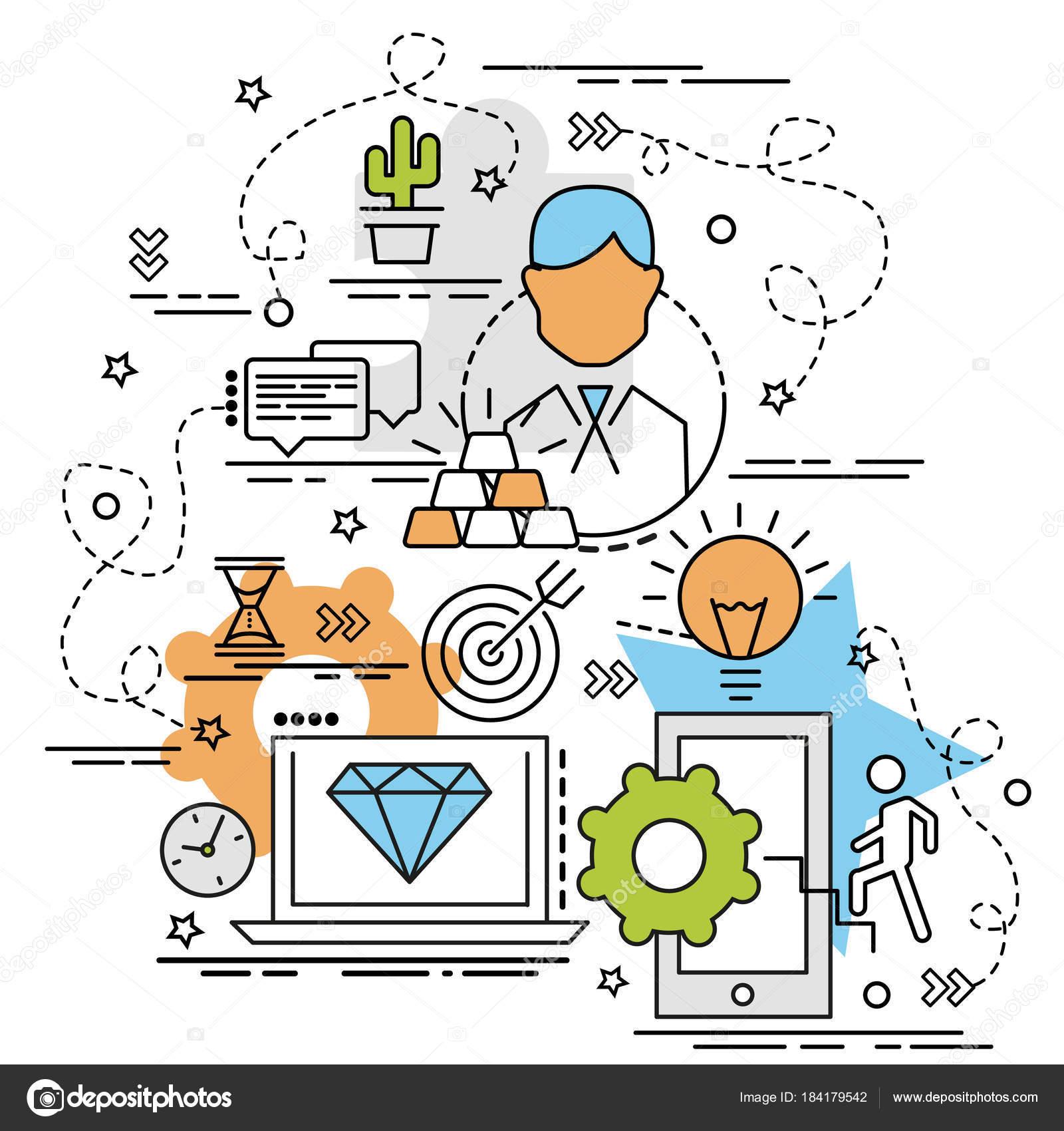 Concepto Diseño Colorido Plano Estrategia Idea Productos Creativos ...