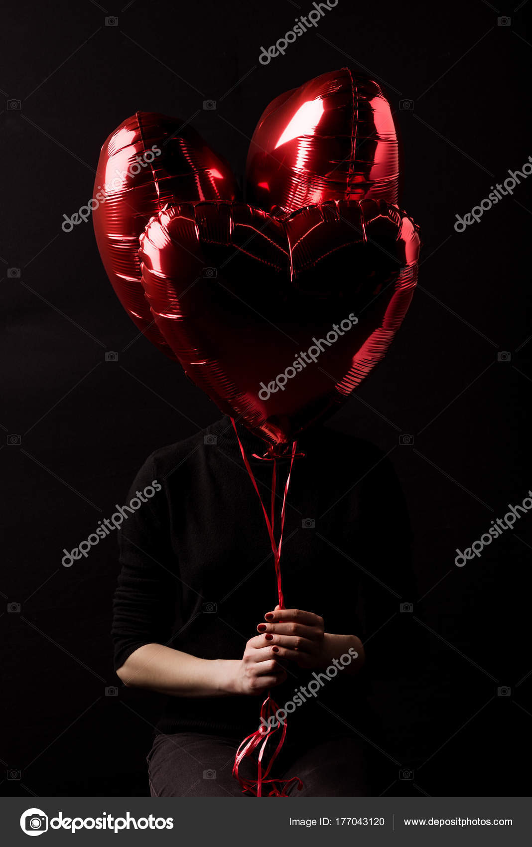 Woman Holding Bundle Heart Shaped Balloons Hands Isolated Black