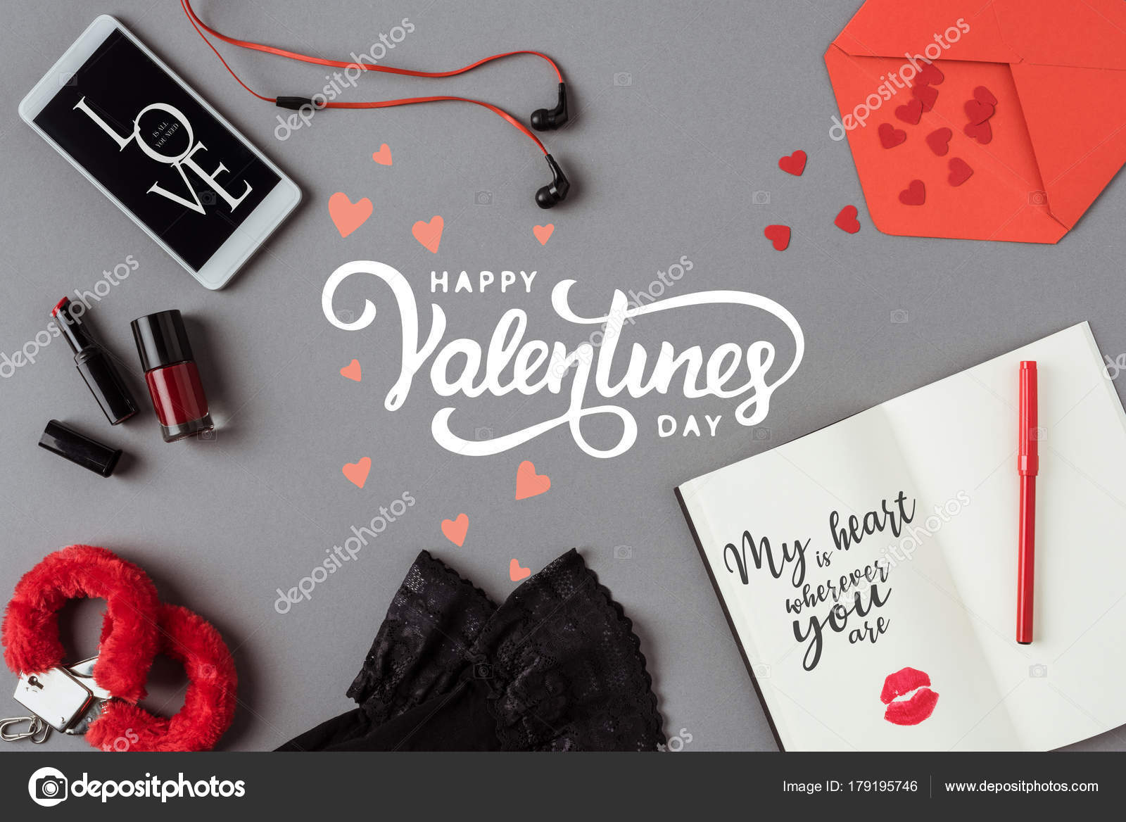 top view words happy valentines day smartphone notebook gray surface