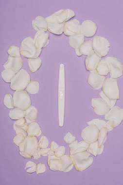 top view of arranged petals and pregnancy test isolated on purple