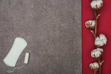 top view of arrangement of cotton twig, menstrual pad and tampon on grey surface
