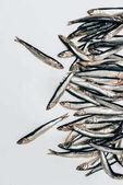 Felülnézet halom elszigetelt fehér halak