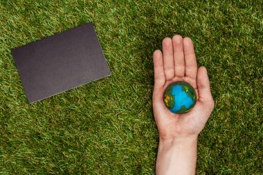 cropped image of man holding earth model on hand, blackboard on green grass, earth day concept