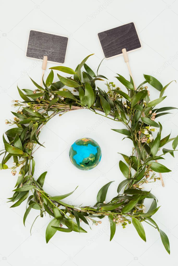 top view of leaves wreath with blackboards isolated on white, earth day concept