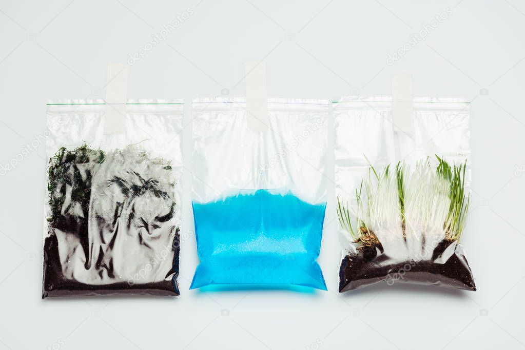 plastic bags with soil, water and seedling hanging isolated on white, earth day concept
