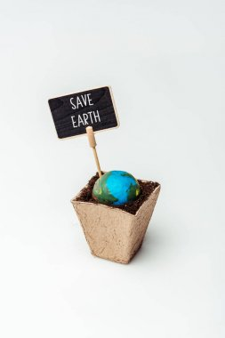 earth model and sign save earth in flower pot isolated on white, earth day concept