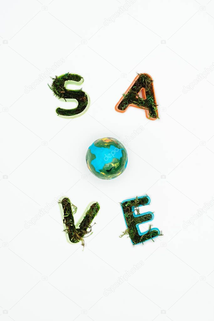 top view of earth model with text save earth isolated on white, earth day concept