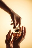 Fotografie cropped view of female hands with perfume bottle, isolated on yellow