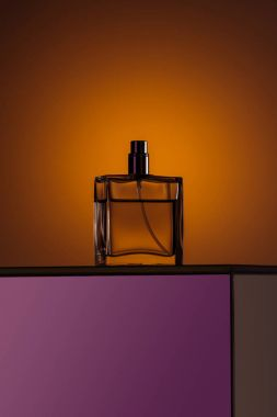 silhouette of luxury perfume in spray bottle
