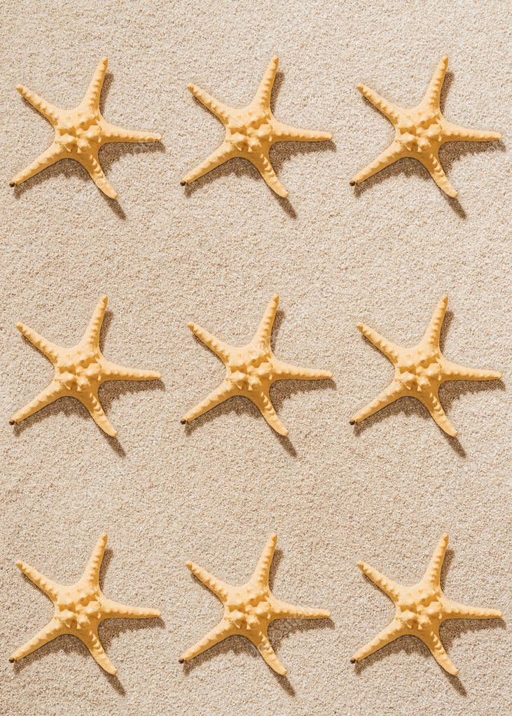 top view of repetition of starfishes on sandy beach