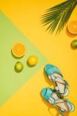 Fotografie top view of palm leaf, stylish female blue platform sandals, lemons, limes and slices of orange