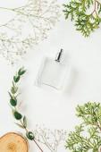 Draufsicht der Flasche Parfüm mit grünen Zweigen und Holzschnitt auf weiß