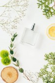 Fotografie top view of bottle of fresh perfume with floral composition around on white
