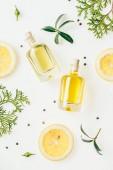 pohled shora lahví svěží parfém s zelené větve a plátky citronu na bílém