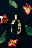 Draufsicht auf eine Flasche Parfüm, umgeben von Alstroemeria-Blüten und Blättern auf schwarz