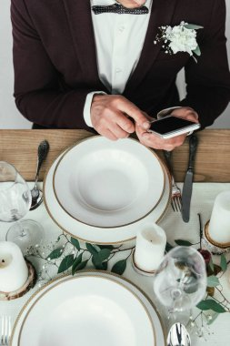 cropped shot of groom using smartphone at served rustic table