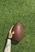 Fotografia ritagliata colpo delluomo che tiene il pallone da rugby in mano su priorità bassa verde prato