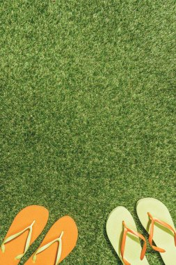 top view of green and orange flip flops on green lawn