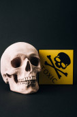 Photo Skull and yellow toxic sign isolated on black