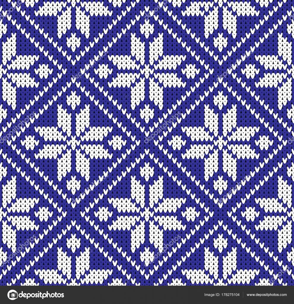 Witte Kersttrui.Naadloze Kerst Trui Noorwegen Blauw Witte Patroon Vectorillustratie