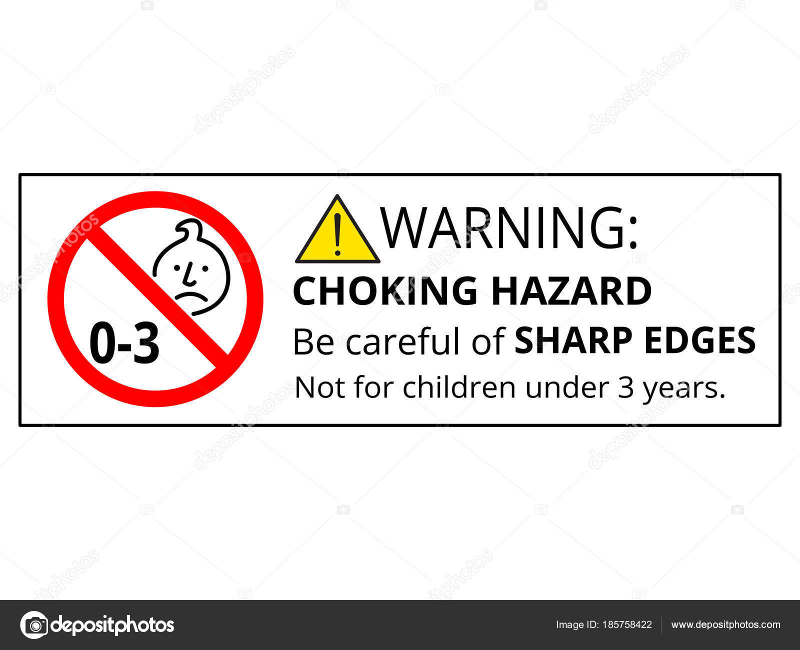 Completely new Suitable Children Years Choking Hazard Forbidden Sign Sticker  XJ93