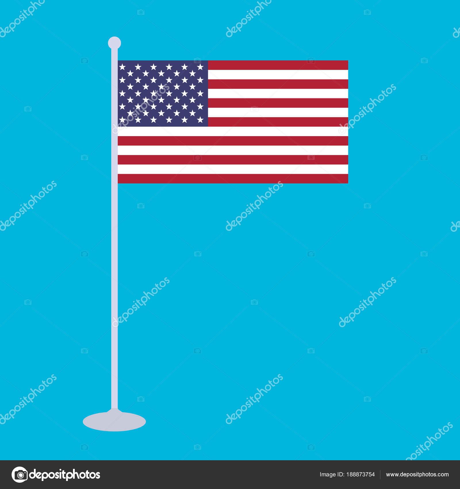 National Flag Flagstaff United States America Vector Illustration