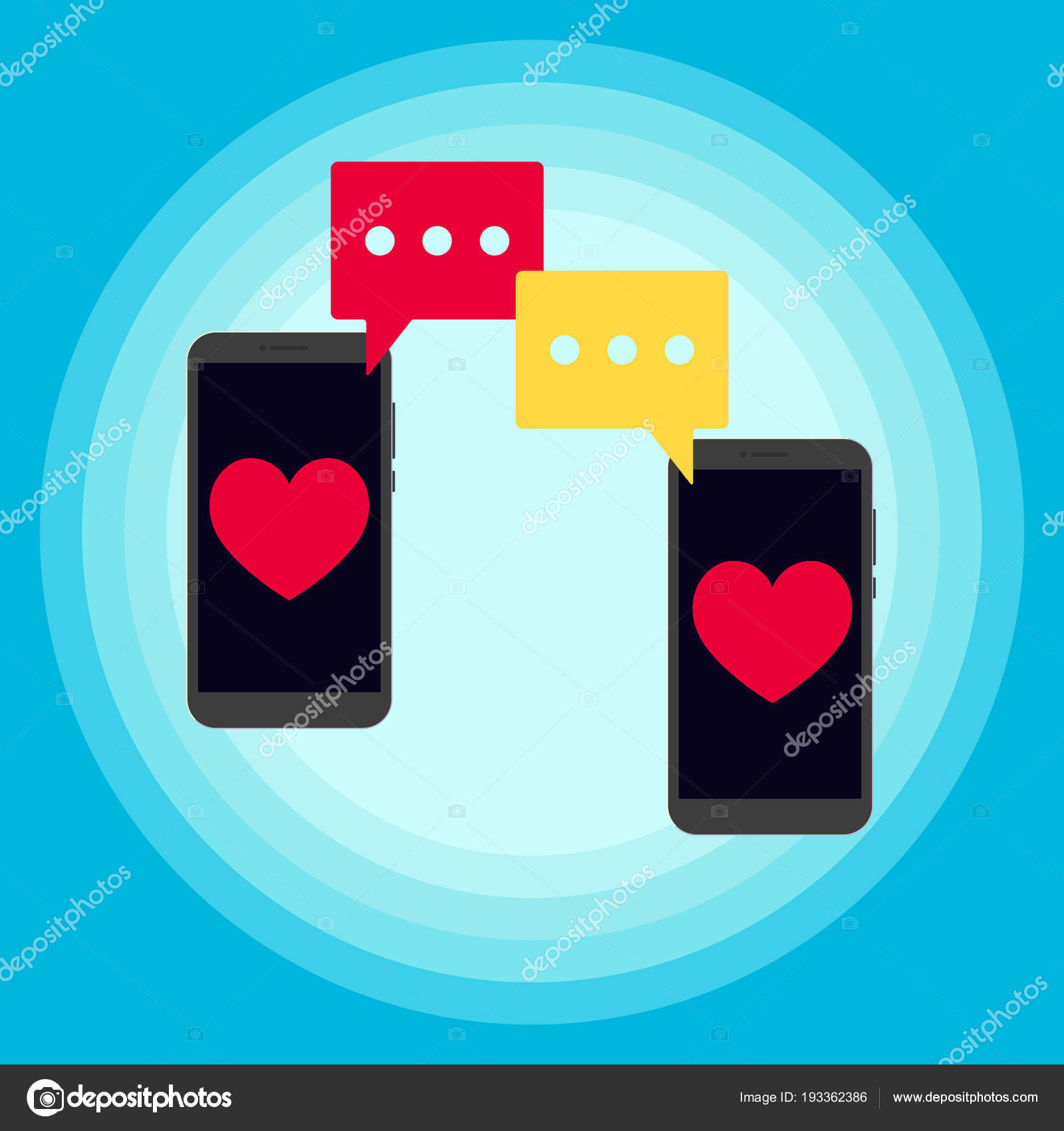 Two Phones Chatting Sms Messages Notification Popped Screen Vector