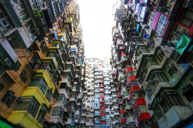 A look up view of Quarry Bay in Hong Kong,China.