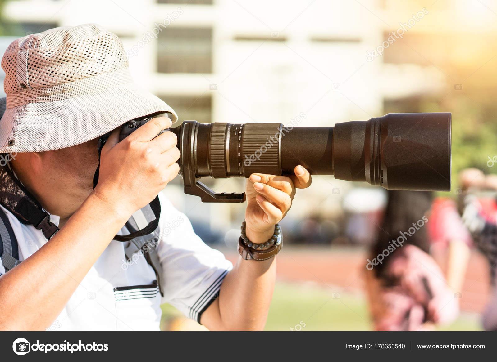 Fotograf Fotografiere Fussball Spiel Und Spieler Stadion