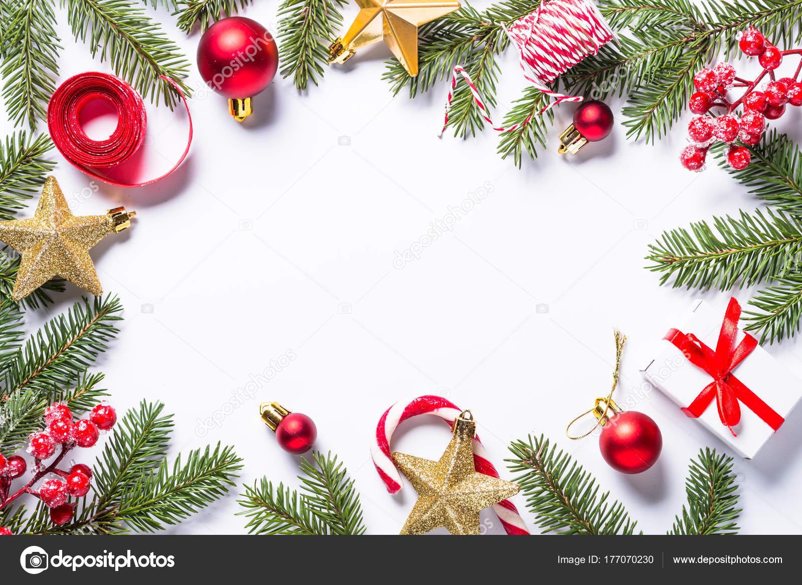 Weihnachten Rahmenhintergrund mit Tanne und Dekorationen am ...