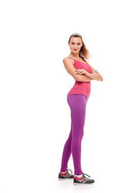 Aerobics fitness woman posing in full length