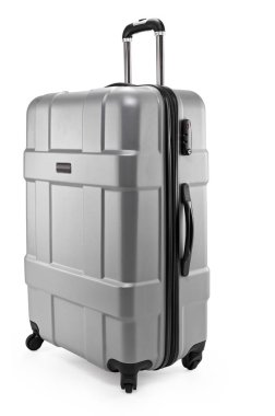 grey suitcase plastic half-turned