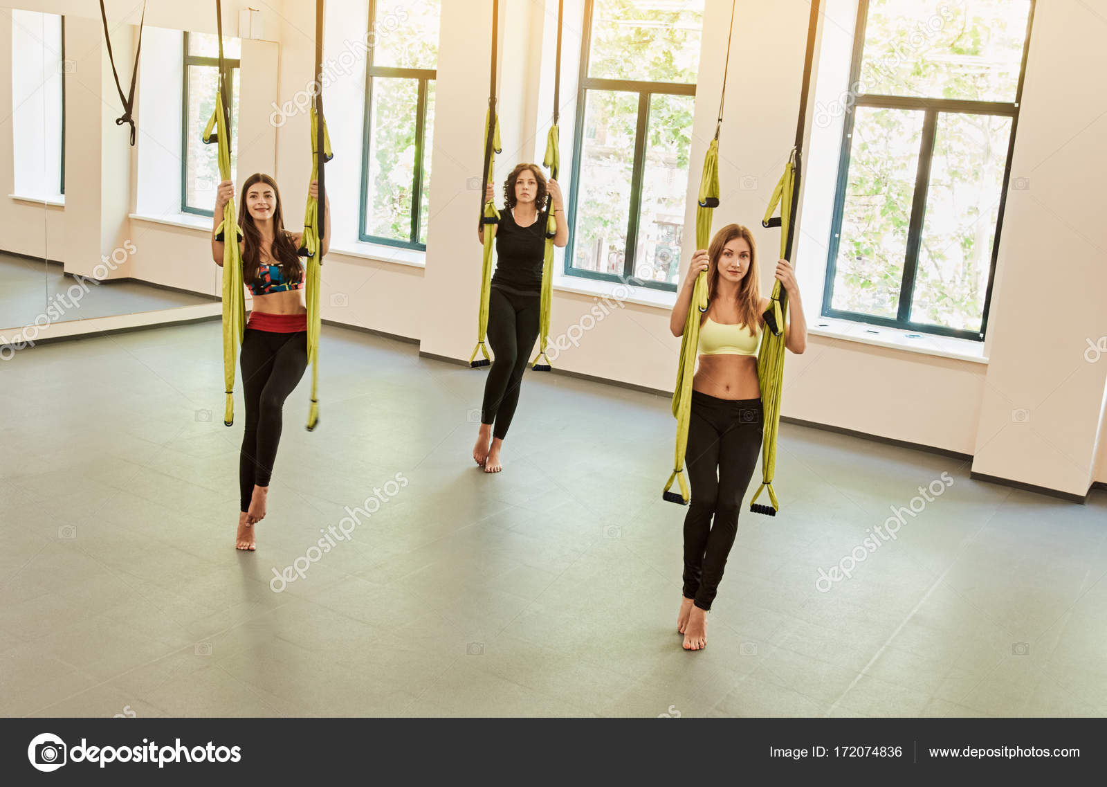 antigravity yoga hammocks  training is soon  u2014 stock photo antigravity yoga hammocks  training is soon  u2014 stock photo      rh   depositphotos