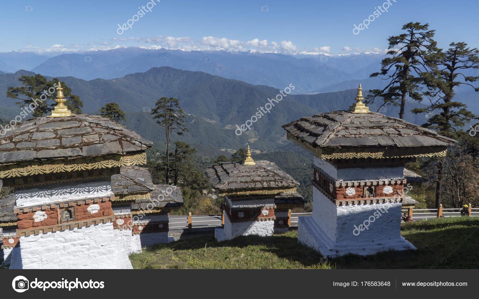 Druk Wangyal Chörten Am Dochula Pass Königreich Bhutan Stockfoto