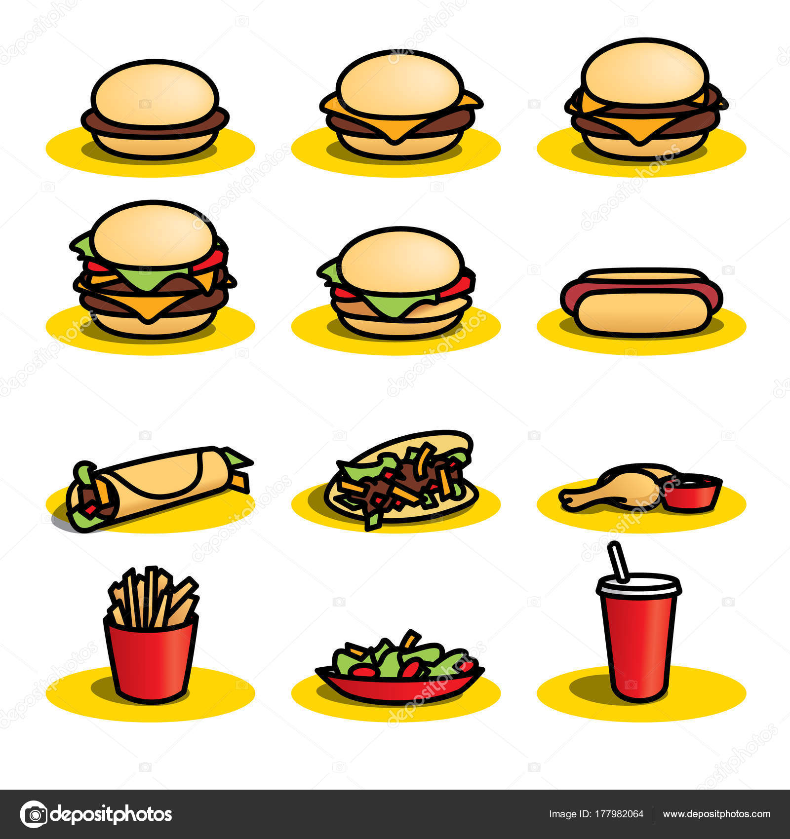 Set Colourful Fast Food Icons White Background Scalable
