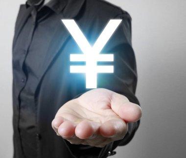 Virtual icon in a hand stock vector