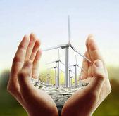úsporný, větrné turbíny v ruce
