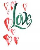 Psané slovo láska se srdíčky. Kaligrafie pohlednice nebo plakát grafický design typografie prvek