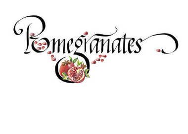Word Pomegranate and hand drawn watercolor pomegranate isolated on the white background. Lettering.
