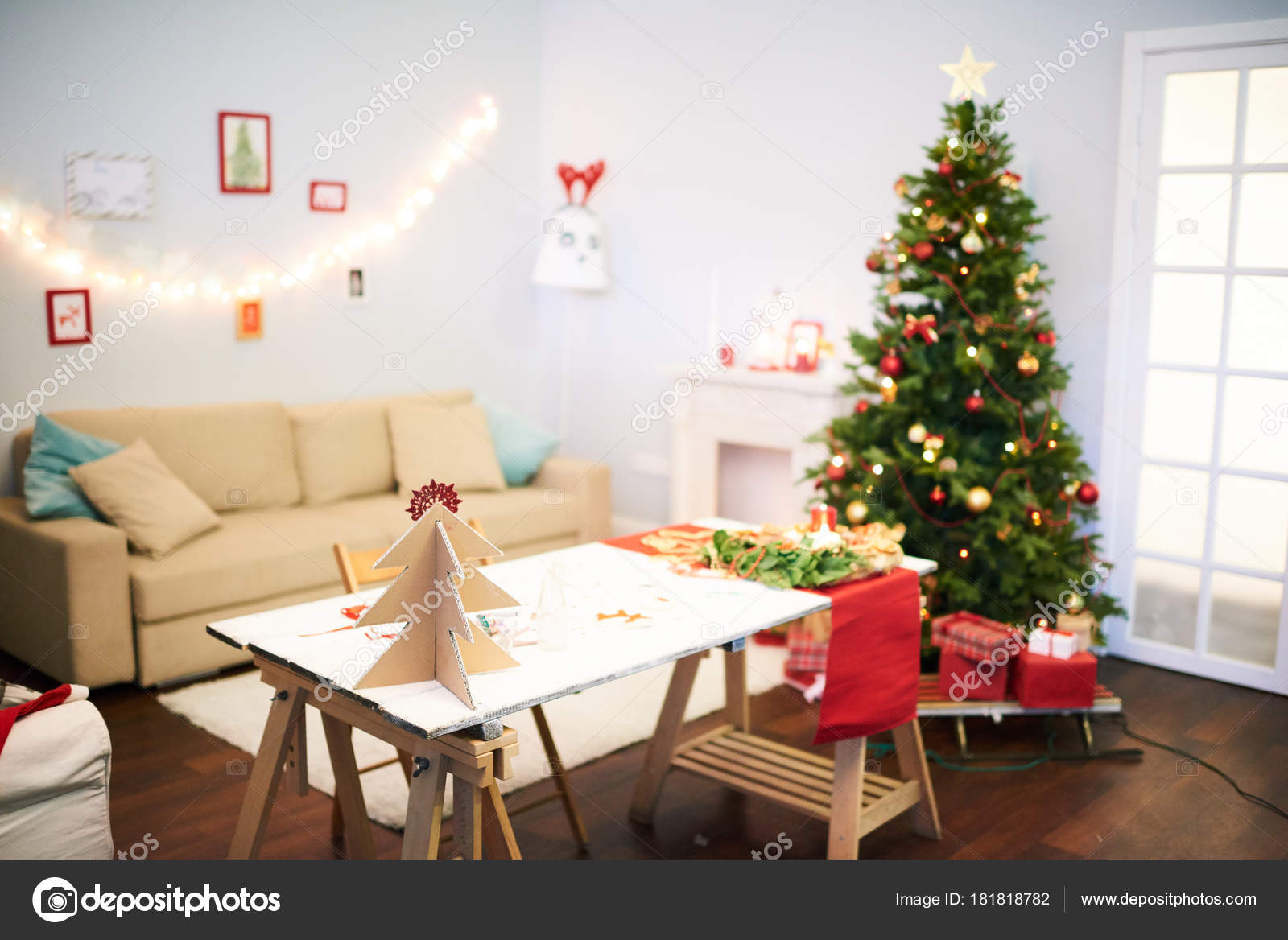 Preparations Christmas Celebration Cozy Living Room Festive