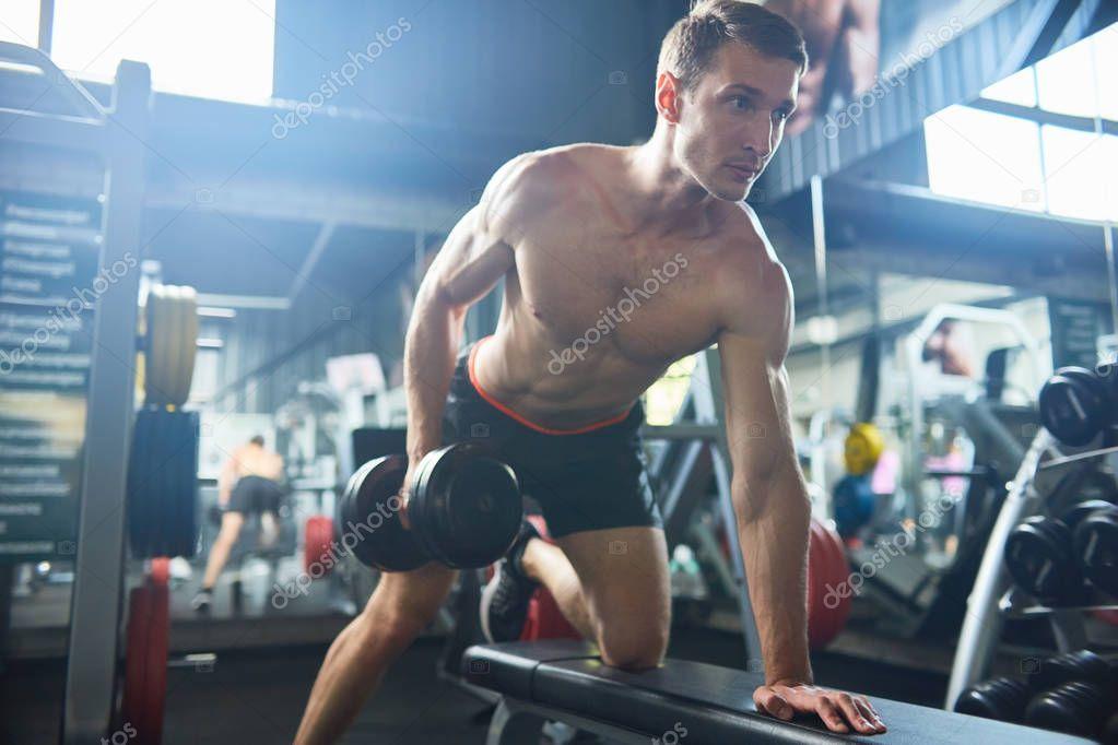 Motivacional Retrato Homem Musculoso Bonito Com Peito Malhar