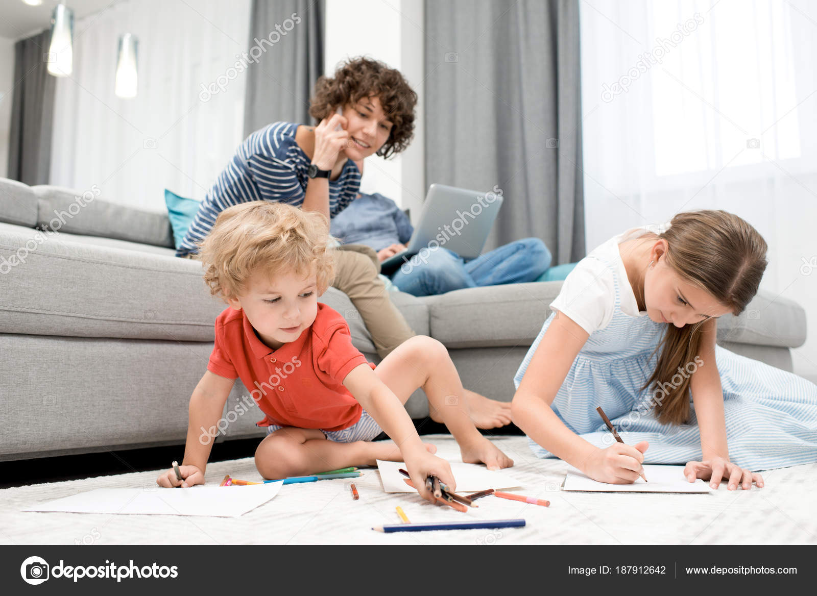 Portrait Two Children Drawing Pictures Sitting Carpet Living